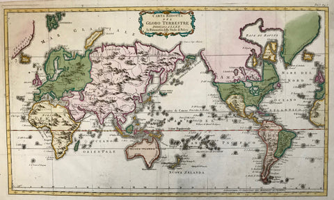 """Carta Ridotta Del Globo Terrestre"". Copper etching, anonymous Italian, dated. 1781. Modern hand coloring.  A facinating aspect of this map is that Europe and Asia are shown on the left side. A little bit of Europe and Africa is on the right edge to give a sense of location. In both upper corners is a bit of Greenland. In the upper left is Iceland in green."