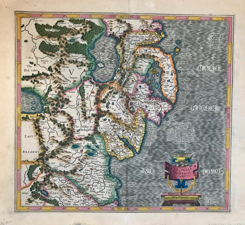 "Ireland, ""Ultoniae Orientalis Pars""  Map shows Eastern part of Ulster (North Ireland)  Outstandingly originally hand-colored copper etching by Gerard Mercator (1512-1594)  Published posthumously by Mercator's son Rumold in Duisburg, 1595"