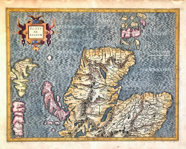 """Scotiae Regnum""  Outstandingly originally hand-colored copper etching by Gerard Mercator (1512-1594)  Published posthumously by Mercator's son Rumold in Duisburg, 1595  Printed on very thick paper of the first edition. Verso text: Latin  Shows northern part of Scotland with Orkney Islands and part of the Hebridean Islands."