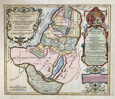 """La Judée ou Palestine, sou le Roi Herodes sur nommé le Grand,..."". Copper etching by Pierre Moulard Sanson in outstanding recent coloring. Paris, 1712.  This map shows Israel during the reign of King Herodes. The title cartouche is in the upper left corner. The cartouche on the right side has a genre scene in the medallion. A list of historical events on the right side help to put this map in historical perspective."