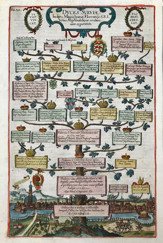 Duces Sueviæ  Copper etching by Raphael Custos (Custodis), Augsburg, 1613. Very fine, modern hand coloring. This very interesting etching shows a family tree of the ruler of Swabia beginning with Fridericus Baron of Weiblingen-Hohenstauffenin 1064 at the bottom and reaching to Conrad of Swabia in 1269 at the top. At the bottom is an attractiv