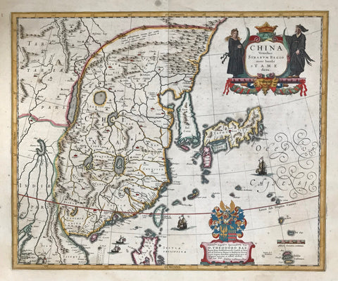 China, by Willem Janzoon Bleau  From Theatrum Orbis Terrarum  Copper engraving  Size: 41.5 x 50cm (16.1' x 19.4')  Willem Janzoon Blaeu (1571-1638) was the founding father of the most important cartographic publishing company in the Netherlands, holding on to its excellence for nearly one hundred years. Born 1571 in Alkmaar, Blaeu had initially settled i