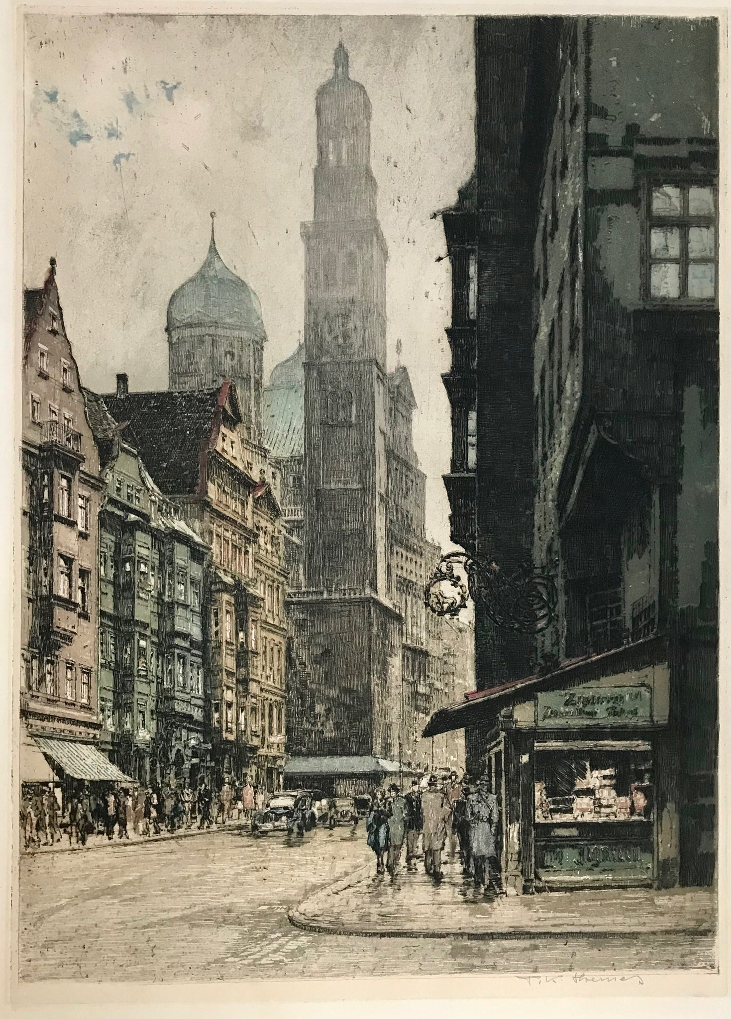 No title. Augsburg, Carolinen-Street, Germany  Etching. Printed in color. Signed T(anna) K(asimir) Hoernes