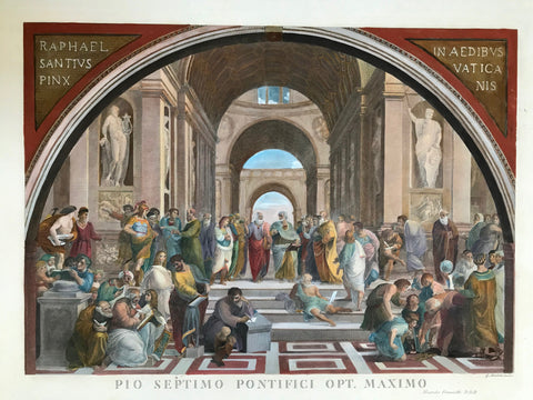 "The School of Athens - Scuola di Atene - Die Schule der Philosophen  This was the second of a series of wall frescos, Raffaello Sanzio da Urbino, more colloquially known simply as Raphael (1483-1520), painted in the library / study of Pope Julius II. called ""Stanza della Segnatura"". Raphael placed this wall fresco opposite ""La Disputa""."