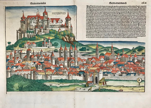 """Herbipolis"" (Wuerzburg, Germany)  Type of print: Woodcut  Color: Superb hand coloring  Author: Harmann Schedel (1440-1514)  Publikation: Nürnberg Chronische / Schedelsche Weltchronik  Printer: Anton Koberger (1440-1513)  Accompanying text in upper right corner: Latin language  Verso: View of Ferrara. Text in Latin  Edition: First edition  Date of publication: 1493"