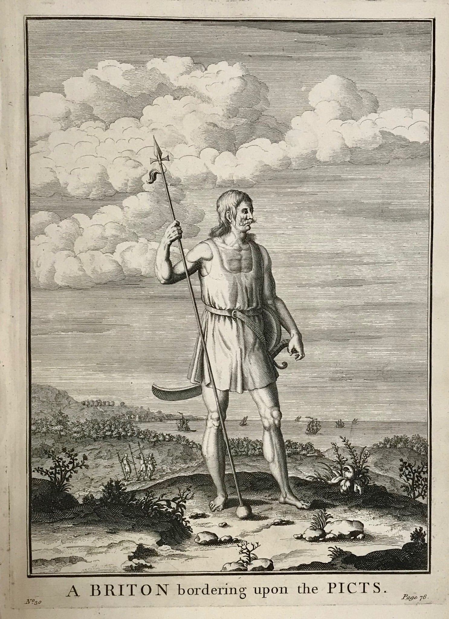"A Briton bordering upon the Picts  30.2 x 22 cm ( 11.8 x 8.6)    Antique Prints of the Celts (Kelten)  From Julius Ceasar's ""War Commentaries on the Celts"", in which he described the somewhat perplexing encounters with the people north of the Alps."