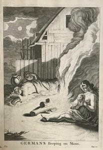 "Germans sleeping on Skins.  31 x 22.1 cm ( 12.2 x 8.7)   Antique Prints of the Celts (Kelten)  From Julius Ceasar's ""War Commentaries on the Celts"", in which he described the somewhat perplexing encounters with the people north of the Alps."