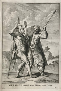"""Germans armed with Shields and Darts.""  31.5 x 22.5 cm ( 12.4 x 8.8)     Antique Prints of the Celts (Kelten)  From Julius Ceasar's ""War Commentaries on the Celts"", in which he described the somewhat perplexing encounters with the people north of the Alps."