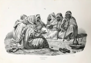 """Araber"" (Arabians).  Lithograph by J. Honegger from ãNaturgeschichte und Abblidung des Menschen..."" by HeinrichRudolf Schinz. Zurich, 1845. (Native people of the world)."