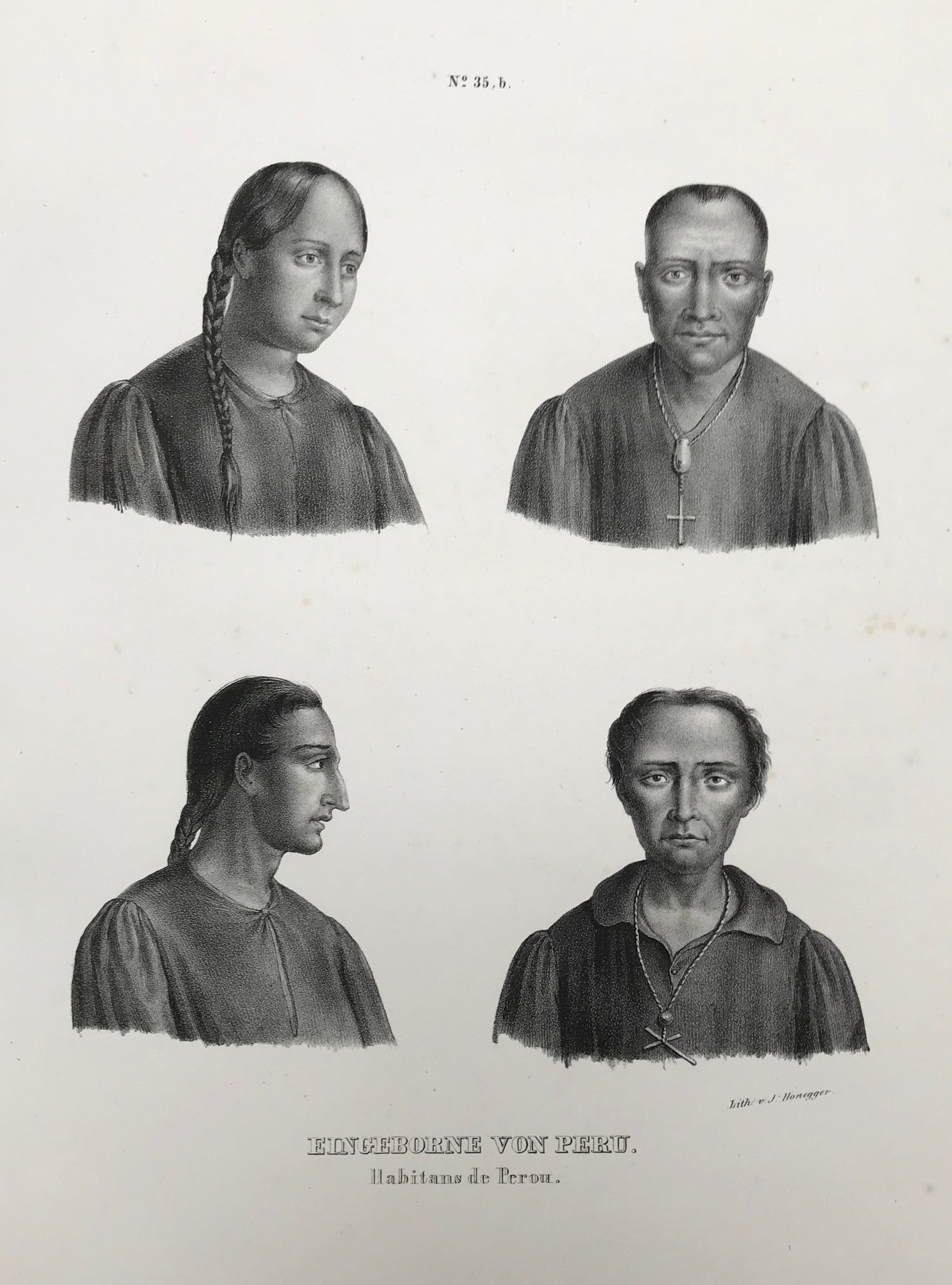 """Eingeborene von Peru"". (Natives of Peru). Habitans de Perou  Lithograph by J. Honegger from ""Naturgeschichte und Abblidung des Menschen..."" by Heinrich Rudolf Schinz. Zurich, 1845. (Native people of the world)."