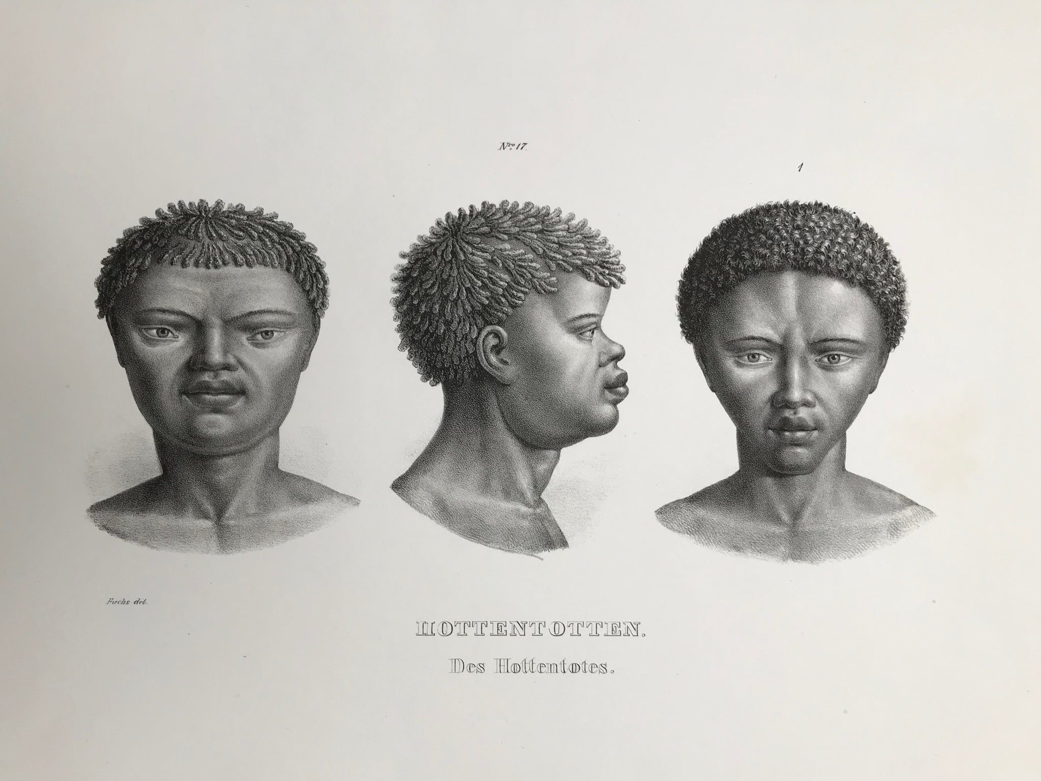 """Hottentotten"" (A collective discriminatory name the Bures gave to Khoi-Khoi, Nama, Korana, Griqua, Orlam, Baster who lived in South Africa and Namibia).  Lithograph by J. Honegger from ""Naturgeschichte und Abblidung des Menschen..."" by Heinrich Rudolf Schinz. Zurich, 1845. (Native people of the world)."