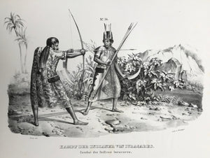 """Kampf der Indianer von Iuracares"". (Fighting Yuracares Indians of Bolivia).  Lithograph by J. Honegger from ""Naturgeschichte und Abblidung des Menschen..."" by Heinrich Rudolf Schinz. Zurich, 1845. (Native people of the world)."