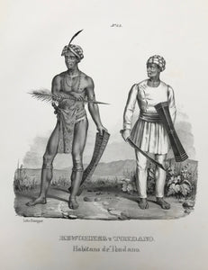 """Bewohner von Tondano"" (Inhabitant of Tondano, Indonesia)  Lithograph by J. Honegger from ""Naturgeschichte und Abblidung des Menschen..."" by Heinrich Rudolf Schinz. Zurich, 1845. (Native people of the world)."