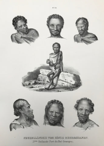 """Neuhollaender vom Koenig Georgshafen"" Aboringinies from King George Sound, Australia. Nelle Hollande Port du Roi Georges.  Lithograph by J. Honegger from ""Naturgeschichte und Abblidung des Menschen..."" by Heinrich Rudolf Schinz. Zurich, 1845. (Native people of the world)."