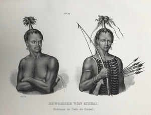 """Bewohner von Ombai"". Inhabitants of Ombai, Indonesia).  Lithograph by J. Honegger from ""Naturgeschichte und Abblidung des Menschen..."" by Heinrich Rudolf Schinz. Zurich, 1845. (Native people of the world).  Clean.  Page size: 26 x 36 cm (10.2 x 14.2"")"