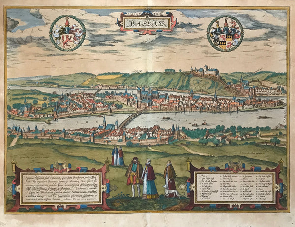"""Passau""  One of the especially ""pretty"" views in the entire ""Civitates Orbis Terrarum"" by Georg Braun and Franz Hogenberg is this general view of Passau!  Hand-colored copper etching. Dated 1576. Text in Latin about Passau on half of backside."