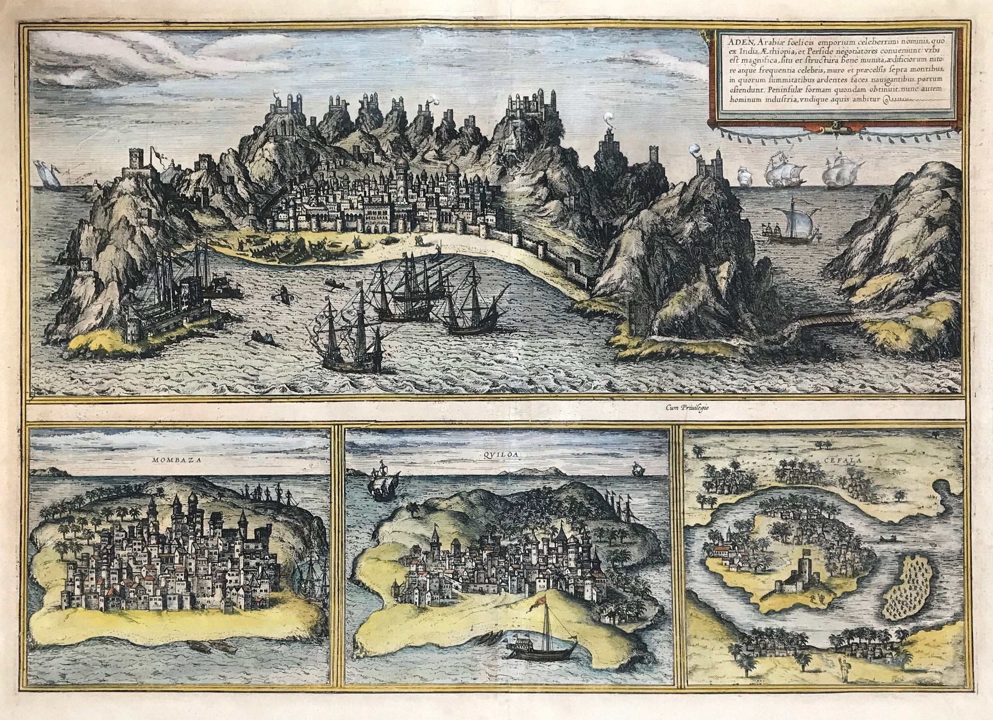 By Georg Braun (1540-1622) and Frans Hogenberg (1535-1590)  Cologne, 1572  The most prominent panoramic view of the city of Aden in Yemen in Arabia and three views of Africa's East Coast in the 16th century.  Mombaza (Mombasa in Kenya)  Quiloa (near Kilwa Kisiwani)  Cefala (Sofala in Mozambique)