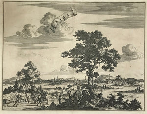 """Saba, Ville en Perse""  Copper engraving by Pierre Van der Aa from the scare "" La galerie agredable du monde.....Tome premier des Indes Orientales"" Published ca 1725. It was published in 66 parts and is one of the biggest books ever published. It is said that only one hundred copies were printed."