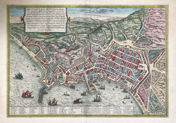 "Naples. - ""Haec est nobilis & florens illa Napolis, Campaniae civitas antea Parthenope...""  (This is the nobel and flourishing city of Naples, a city in Campania formerly called Parthenope...)  Copper etching. Original hand coloring. Published by Georg Braun (1541-1622) and Frans Hogenberg (1535-1590) in ""Civitates Orbis Terrarum"", 1572."