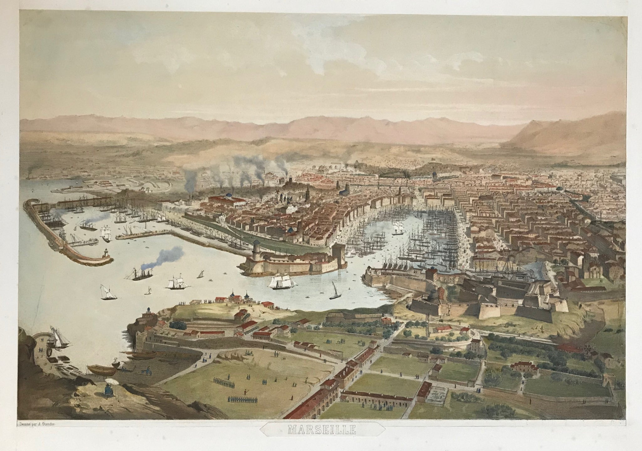 """Marseille"" (Vue des Catalans)  Lithograph Noury after Alfred Guesdon (1808-1876) published ca 1840. Attractive hand coloring."