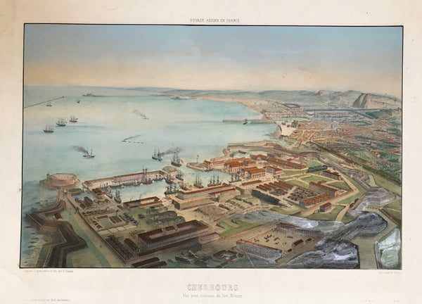 """Cherbourg Vue prise au-dessus du Port Militaire""  Cherbourg - view from above the military port.  Lithograph by Alfred Guesdon (1808-1876) after his own drawing.  Published in an album ""Voyage Aerien en France"".  Printed by Lemercier.  Paris, ca. 1850"