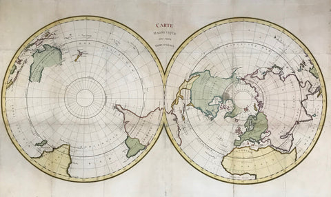 """Carte Magnétique des deux Hemisphères"". Copper etching ca 1780. Modern hand coloring.  This map shows the two polar regions and bordering countries. Notice that the polar regions were still somewhat unknown. The are many small crosses in the oceans for missed ships or shipwrecks."