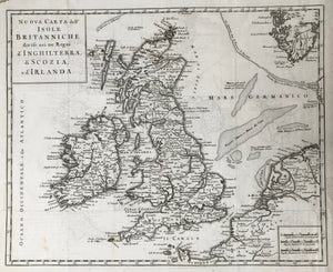 Nuova Carta dell' Isole Britanniche divise nei tre Regni d'Inghlaterra, di Scozia, e d'Irlanda (England, Scotland and Ireland). Copperplate etching from Thomas Salmon: Modern History. 1743  A specialty of this map that it indicates larger sandbanks in the North Sea