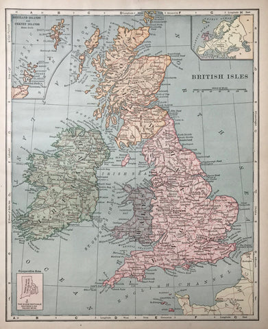 """British Isles""  Wood engraving printed in color. Reverse side is printed.  In the upper left corner is an inset showing the Shetland Islands and the Orkney Islands. In the upper right corner is an inset showing the British Isles and the rest of Europe"