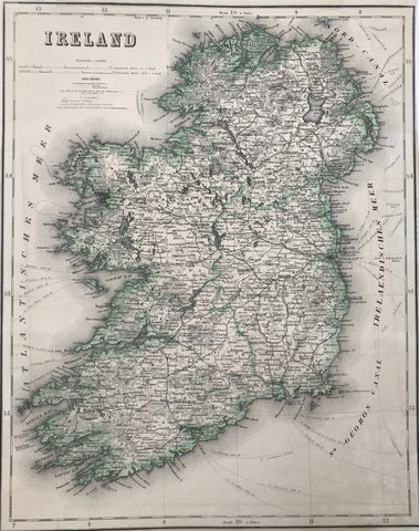 """Ireland""  Steel engraving for Meyer´s Hand Atlas, 1868. Original outline coloring.  Detailed map showing the railway lines of the time as well as the routes of the steamships. The counties are outlined in green."