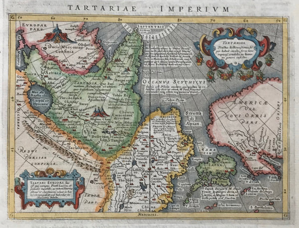 """Descrittione del Potentissimo Imperio della Tartaria - Tartariae Imperium"". Plate XXVIII (28)  This map shows suggestively in outlines the West Coast of North America from what later became Alaska, British Columbia, Washington (State), Oregon and California (which was already named). It also shows Japan, China, Russia, Mongolia, Central Asia.  Type of print: Copper etching  Artist: Girolamo Porro"