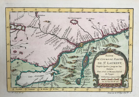 Copper etching by Bellin in modern hand coloring. Dated 1757.  This map is a continuation of the course of the St. Lawrence River from Quebec to Lake Ontario. To the north is western Quebec, the Ottawa River and part of Ontario. To the left of the cartouche is Lake Champlain which forms part of the borderline between Vermont and New York.