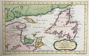 Copper etching by Bellin. Ca. 1755. Modern Hand coloring.  The Gulf of St. Lawrence is shown in careful detail. Newfoundland with its many bays that were already named has a slightly different shape then we see in a modern atlas. In the lower left is the Bay of Fundy. In the northwest are some of the many lakes of Quebec.