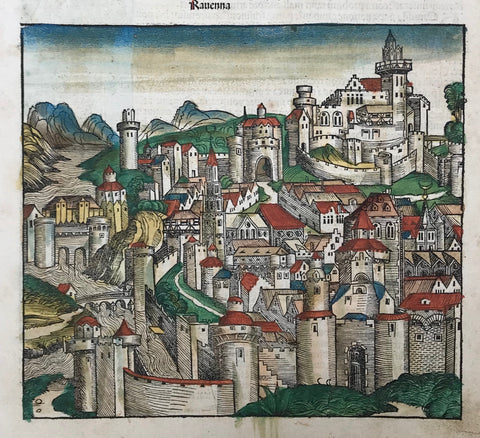 """Ravenna""  Type of print: Woodcut  Color: Original hand coloring. Superb. Royal!  Publisher: Hartmann Schedel  Published in: ""Nuremberg Chronicle"" . Page: CXLII = 142)  Where: Nuremberg  When: 1493  First edition. Latin language  Reverse side has related text print.Plus four Popes: Symmachus, Hosmisdas, John and Felix"
