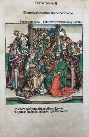 "Title: Pope Aeneas Silvio Piccolomini (Pius II) meets Frederick III for coronation as Holy Roman Emperor in 1452  Type of Print: Woodcut  Color: Original. Superb. Royal!  Publisher: Hartmann Schedel  Published in: ""Nuremberg Chronicle"" . Page: CCLXVII = 267  Where: Nuremberg  When: 1493"