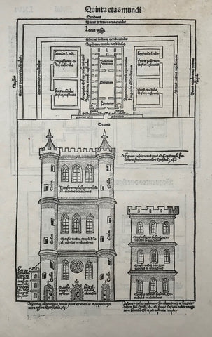 """De edificatione templi""  On either side of woodcut fictional plans of Solomon's Temple in Jerusalem. Following the Tent of Meeting (Tabernacle) this was the first Jewish temple built of stone. Nebukadnezar II. destroyed it. After the Babylonian captivity a second temple was built, which was lacking the most sacred part: The Ark of the Covenant, missing since the destruction of the first temple. The second temple was destroyed by the Romas. Left nowadays is only part of the temple's wall: The Wailing Wall."