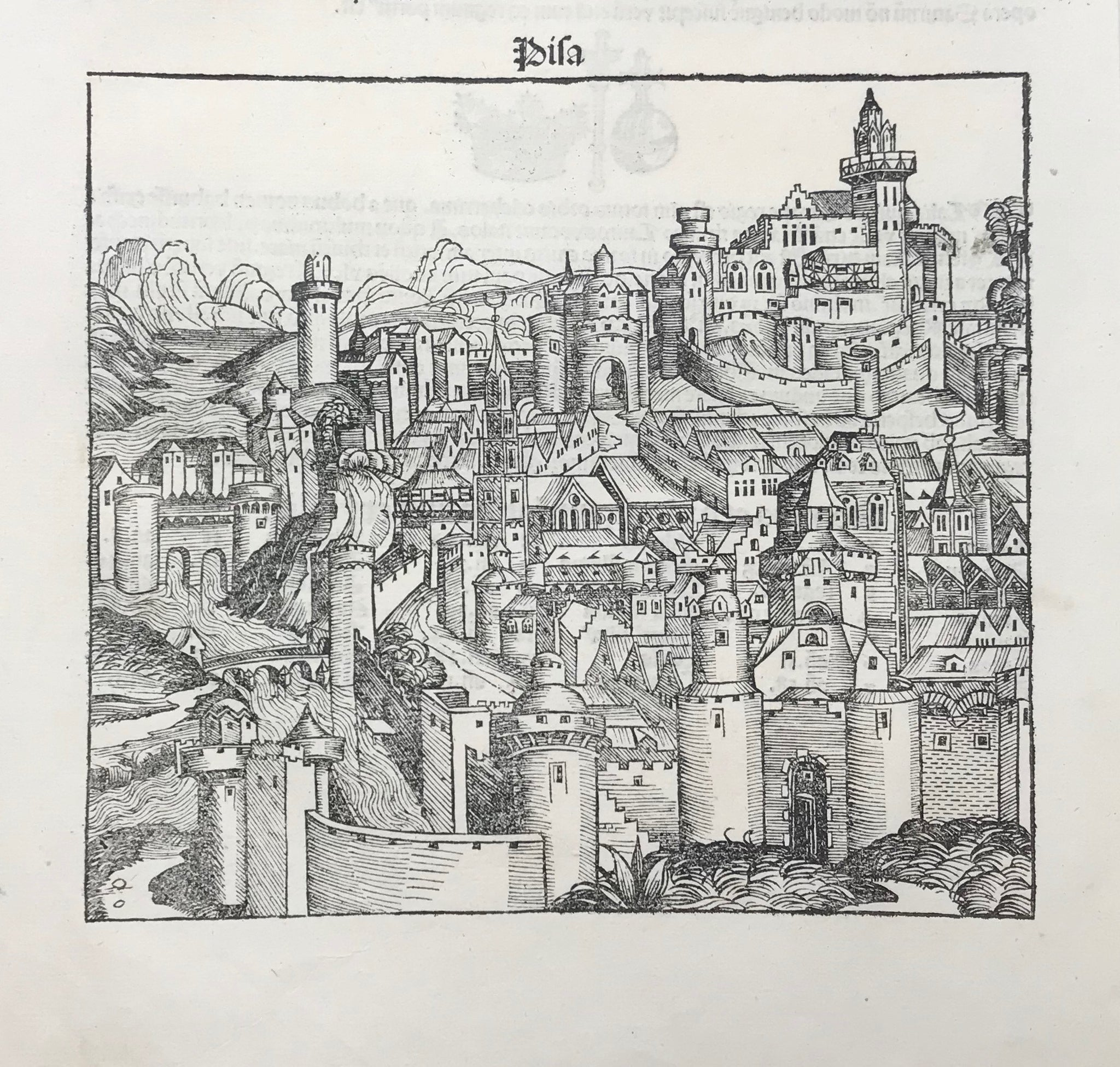 """Pisa""  Type of print: Woodcut  Edition: First edition Latin language  Folio / Page: XLV (45)  Published in: ""Nuremberg Chronicle"" (Schedsche Weltchronik)  Author: Hartmann Schedel  Where: Nuremberg, Germany  When: 1493"