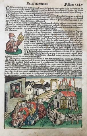 The story of this book is a story of superlatives. Hartmann Schedel, a medical doctor in Nuremberg who owned the most important private collection of books in all of Europe was the author. His library made the writing of this book possible. The writing and production of this book was teamwork. Among the more famous cooperators were Wilhelm Pleydenwurff and the painter and expert woodcutter Michael Wolgemut (1434-1519) who became the first noted book illustrator.