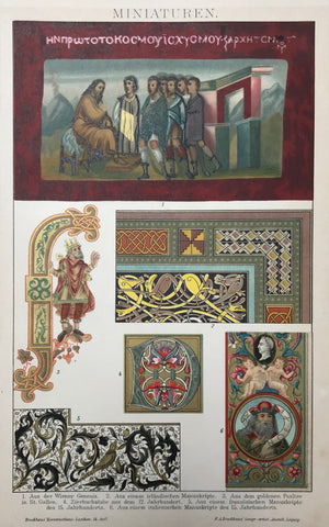 """Miniaturen""  Chromolithograph published 1895. Fine details from illuminated manuscripts."