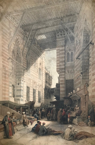"""Bazaar of the Silk Mercers, Cairo""  Lithograph by Louis Haghe (1806-1885). Printed in color after the painting by David Roberts (1796-1864)  Published in ""Egypt & Nubia""  London, F.G. Moon, 1846-1849"