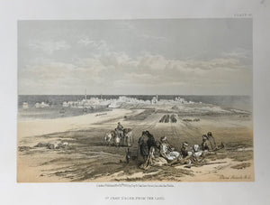 """St. Jean D'Acre From The Land""  This lithograph is from the 1855 edition published in quarto size by Day and Son in London. It is dated Nov. 15th, 1855. Included is an extra page of text."