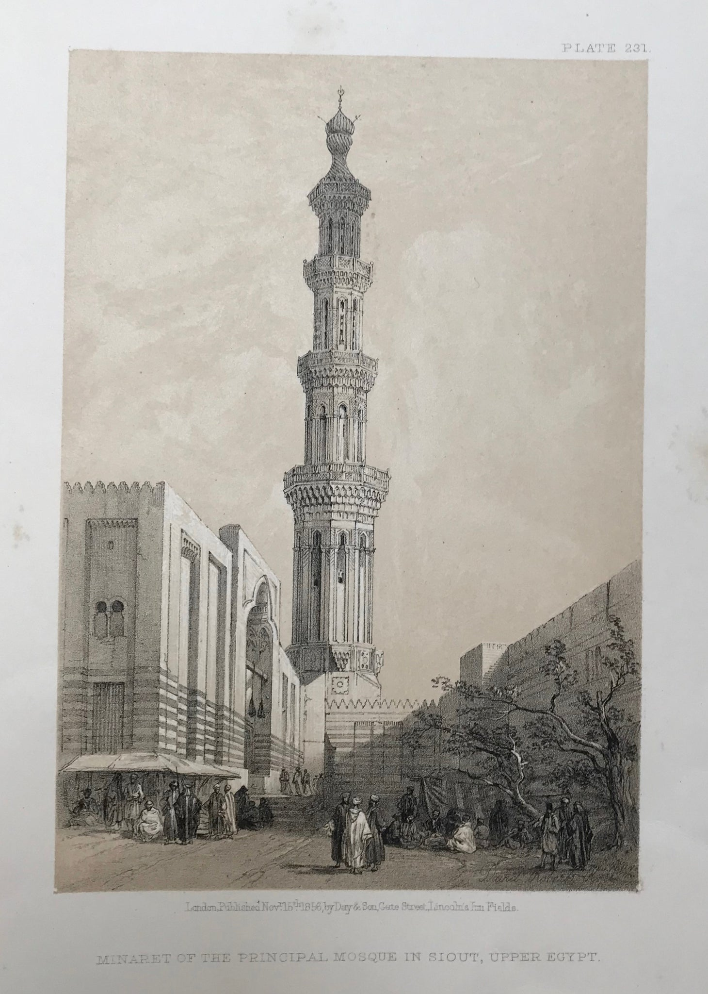 "Original Antique Lithographs  by David Roberts  (1796 Edinburgh - London 1864)  ""Minaret of the Principal Mosque in Siout, Upper Egypt""  This lithograph is from the 1855 edition published in quarto size by Day and Son in London. It is dated Nov. 15th, 1855. Included is an extra page of text.  Very minor spotting in margins. Fine, clean image."