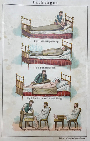 "Packungen (Healing packages)  Chromolithograph ca 1875.  Page size: 22.5 x 15 cm ( 8.8 x 5.9 "")"