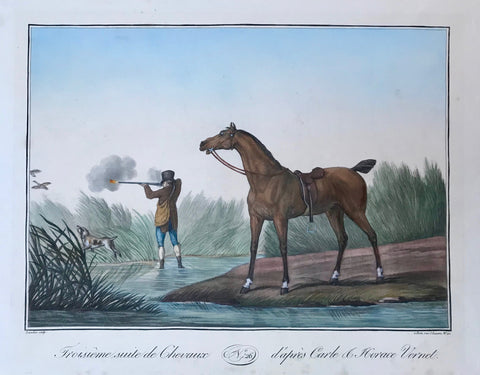 """Troisieme suite de Chevaux d'apres Carle & Horace Vernet"". (Bird Hunter).  Aquatint by Charles François Gabriel Levachez after the drawing by Carle Vernet (1758 - 1836) and Horace  Vernet (1789 - 1863). Very fine modern hand coloring.  Nr. 26 from Vernet's series ""Recueil de Chevaux Tous, Genres, Cessines"". Paris. Ca 1820."