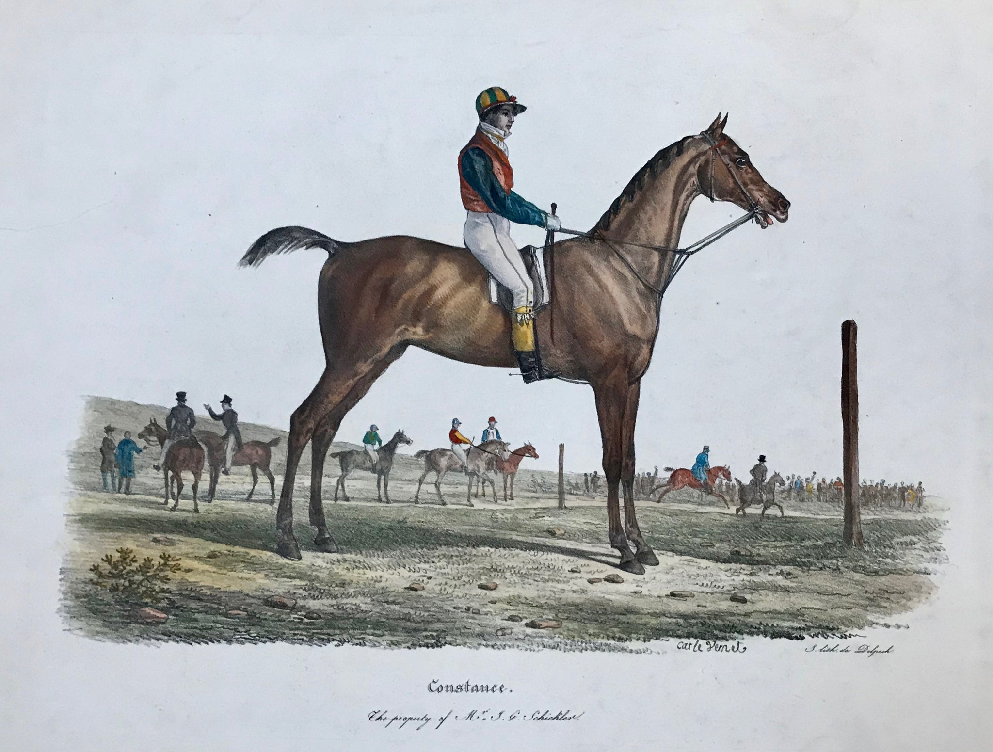 """Constance - The property of Mr. J.G.Schickler""  ""Constance"" with jockey mounted. In the background other race horses  Large folio size hand-colored lithograph by Francois Seraphin Delpech (1778-1825)  After the painting by Carle Vernet (1758-1736)"