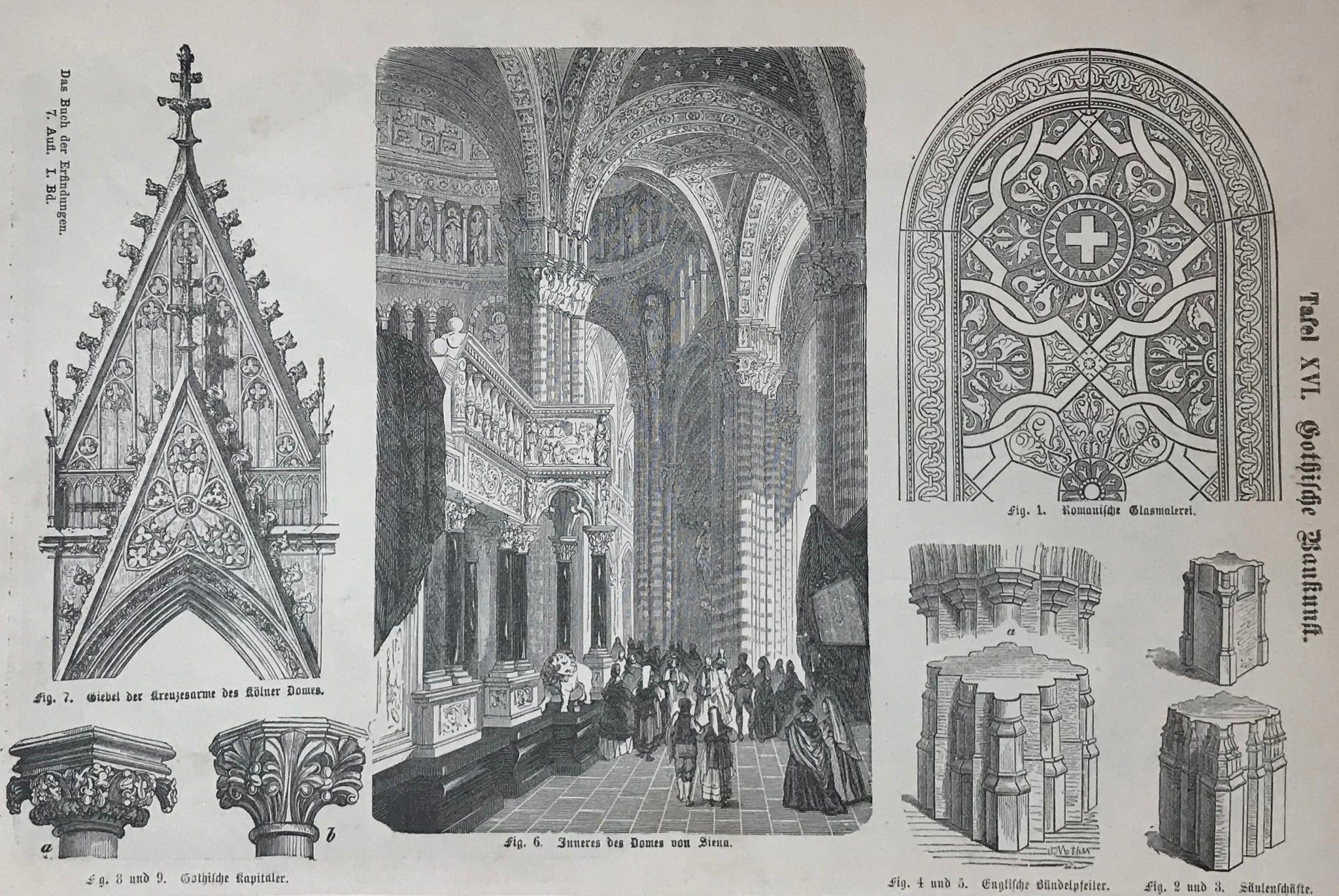 """Gothische Baukunst""  Wood engravings with details of the Cathedral of Cologne and Sienna."