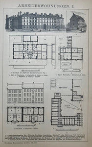 """Arbeiterwohnungen II""  Wood engravings showing various models of appartments for workers.  Krupp, Victoria-Dwellings-Association, Battersea Park et al."