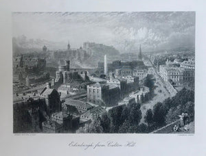 """Edinburgh from Carlton Hill""  Steel engraving T. Heawood after a painting by Birket Foster, ca 1850. Fine print."