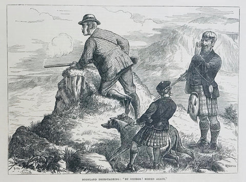 "Highland Deerstalking: ""By George! Missed again.""  Wood engraving. Dated 1871. Reverse side is printed."