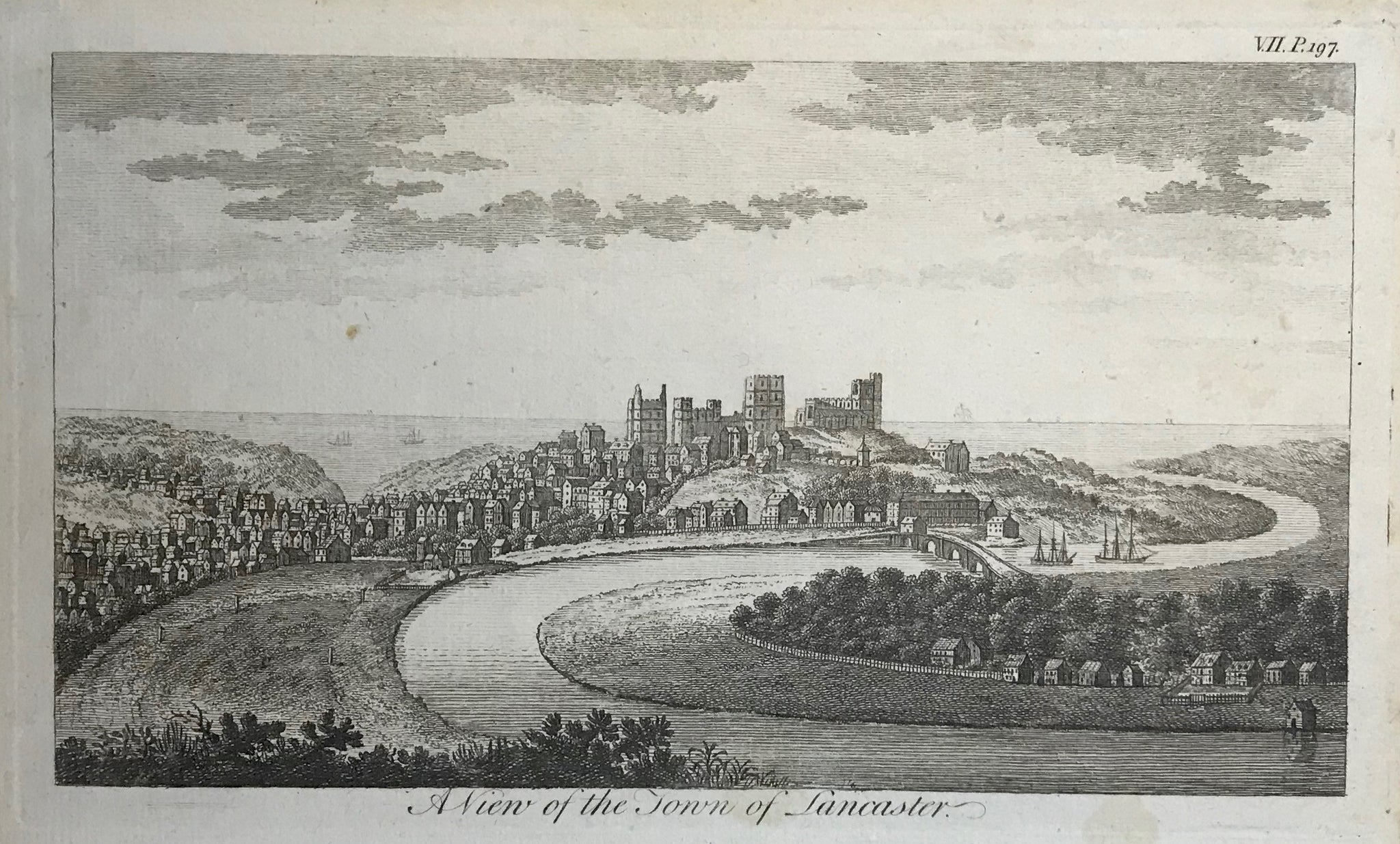 "A View of the Town of Lancaster  Copper engraving ca 1790. A few minor spots.  10.8 x 19. cm ( 4.2 x 7.5 "")"