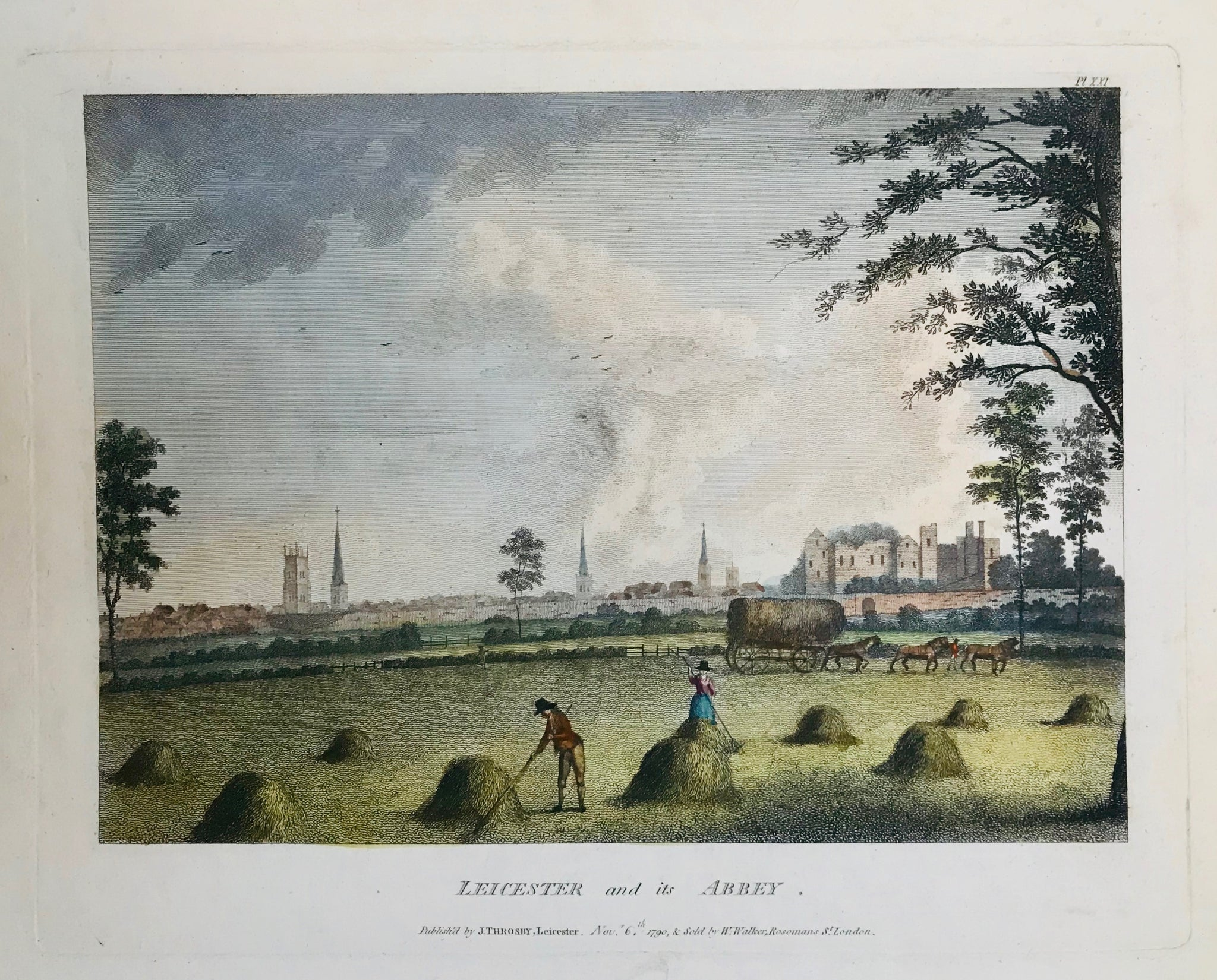 Leicester and its Abbey  Copper engraving published by J. Throsby in Leicester. Dated 1790. Recent hand coloring.